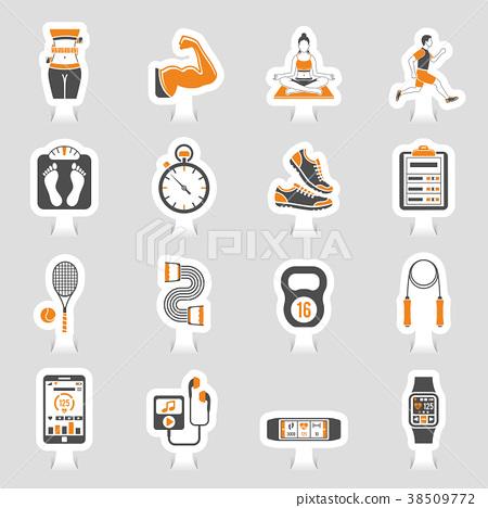 Fitness Icon Sticker Set 38509772