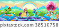 Dreamlike scene with rainbow and fantasy animals 38510758