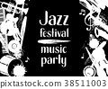 Jazz festival music party grunge poster with 38511003