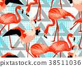 flamingo, tropical, vector 38511036