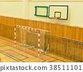 Basket ball hoop in empty basketball court 38511101