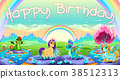 Happy Birthday card with fantasy animals 38512313