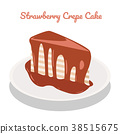 Strawberry Crepe Cake on plate 38515675