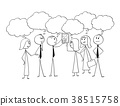 Cartoon of Business Team Working Together to Find 38515758