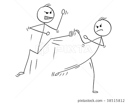 Cartoon of Karate or Kung Fu Fight or Training 38515812