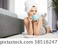 lying, morning, towel 38516247