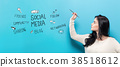 Social Media with young woman holding a pen 38518612