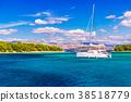 Aerial view of cozy mediterranean island. Blue 38518779