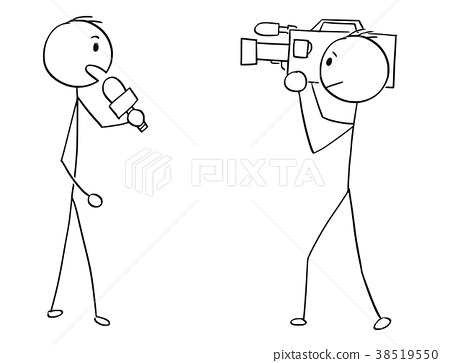 Cartoon of Tv or Television News Reporter and 38519550