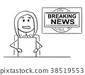 Cartoon of Tv or Television News Woman or Female 38519553