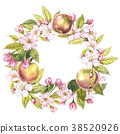 Hand-drawn watercolor wreath of flowers of apples 38520926