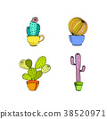 Vector set of hand drawn cactus in pot 38520971