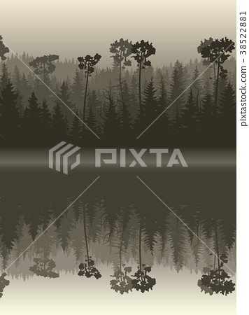 Illustration forest with its reflection in water. 38522881
