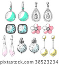 Hand drawn earrings set. Icons in a sketch style. 38523234