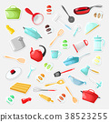 Set of stickers with utensils in a cartoon style. 38523255
