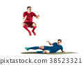 Professional football soccer players isolated 38523321