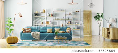 Interior of modern living room panorama 3d render 38523884