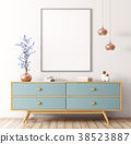 Interior with wooden dresser and poster 3d render 38523887