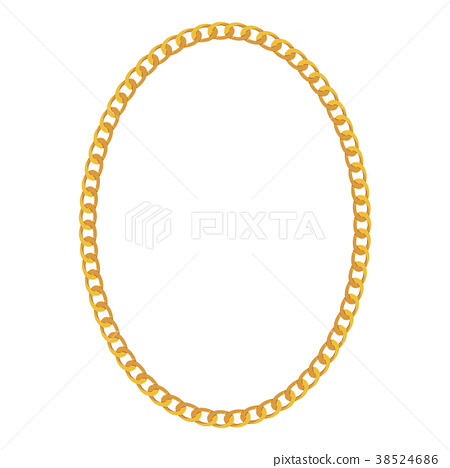 Gold Chain Jewelry on White Background. Vector 38524686