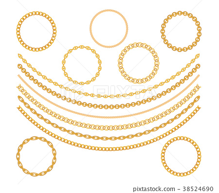 Gold Chain Jewelry on White Background. Vector 38524690