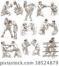 Box. Boxing Sport. Collection - freehand sketching 38524879
