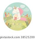 Cute unicorn eating popcorn 38525200