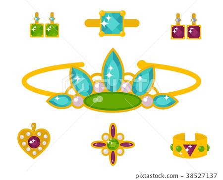 Vector jewelry items gold elegance gemstones 38527137