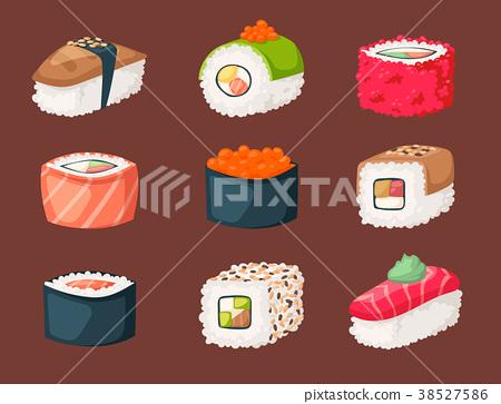 Sushi japanese cuisine traditional food flat 38527586