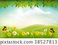 Spring nature landscape background with flowers  38527813