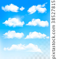 Set of transparent different clouds. Vector. 38527815