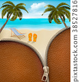 Seaside background with a zipper. Vector. 38527816