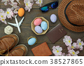 Table top view Happy Easter holiday background 38527865