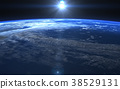 發生3DCG例證材料的地球的日出 38529131