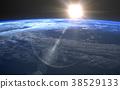 发生3DCG例证材料的地球的日出 38529133