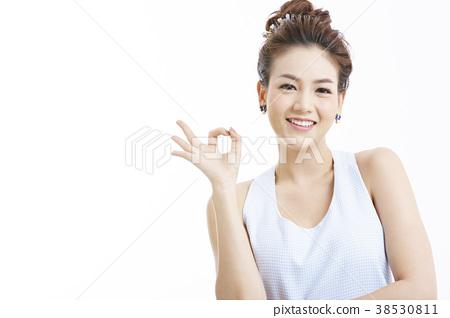 亞洲女人肖像系列手勢 38530811