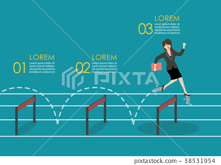 woman with spring shoes jumping over hurdle 38531954