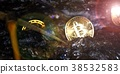 Golden bitcoin mining in deep golden cave. 38532583