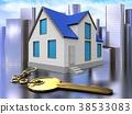 3d golden key over city 38533083
