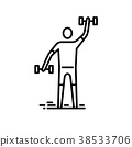 Thin line icon. Man exercising with bumbbell 38533706