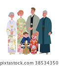 Kimono three generation family illustration 38534350