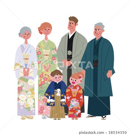 기모노 세 가족 일러스트 38534350