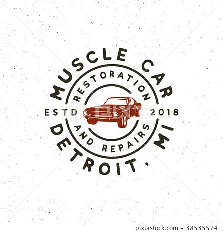Vintage Muscle Car Garage Logo Vector Stock Illustration 38535574 Pixta