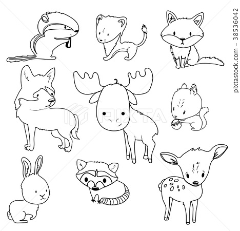 Forest animals outlines set 38536042