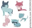 animals, forest, vector 38536043