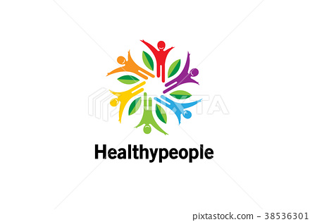 Healthy Colorful People Logo Design Illustration 38536301