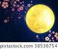 밤 벚꽃, 달, 만월 38536754