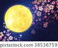 밤 벚꽃, 벚꽃 눈보라, 달 38536759