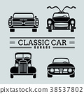 Set front view classic car icon illustrations 38537802