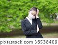 꽃가루 알레르기 감기 마스크의 여자 38538409