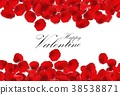 Red rose petals on a white background 38538871